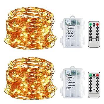 Vegkey Cadena de Luces,5M 50 Leds Luces de Cadena LED 8 Modos Luces con. Pasa ...