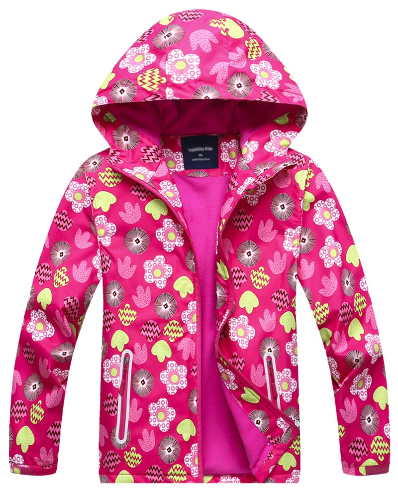 Kids Girl's Warm Fleece Lined Floral Waterproof Outdoor Hooded Jacket Coat, Hot Pink, US 4-5 Years (4t-5t) =Tag S