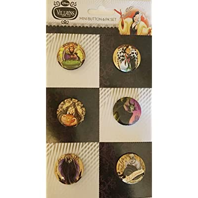 Disney Villians Mini Button Set ~ 6 pack: Home & Kitchen