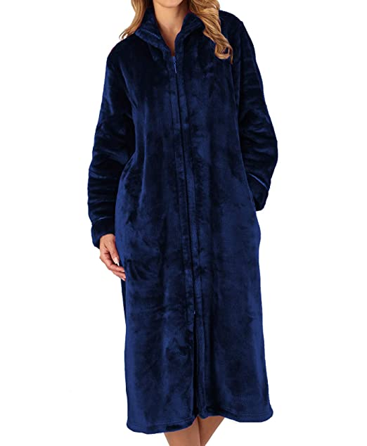 Ladies Zip Front Fleece Dressing Gown Two Colours And Four Sizes