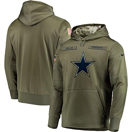 49b2c4bb026e1d Men s Dallas Cowboys Salute to Service Sideline Therma Performance Pullover  Hoodie - Olive (Medium)
