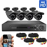 Best Vision Systems SK-DVR-DIY 8CH 1TB 1080N DVR Security Surveillance System with (4) 2MP AHD Outdoor Bullet Cameras
