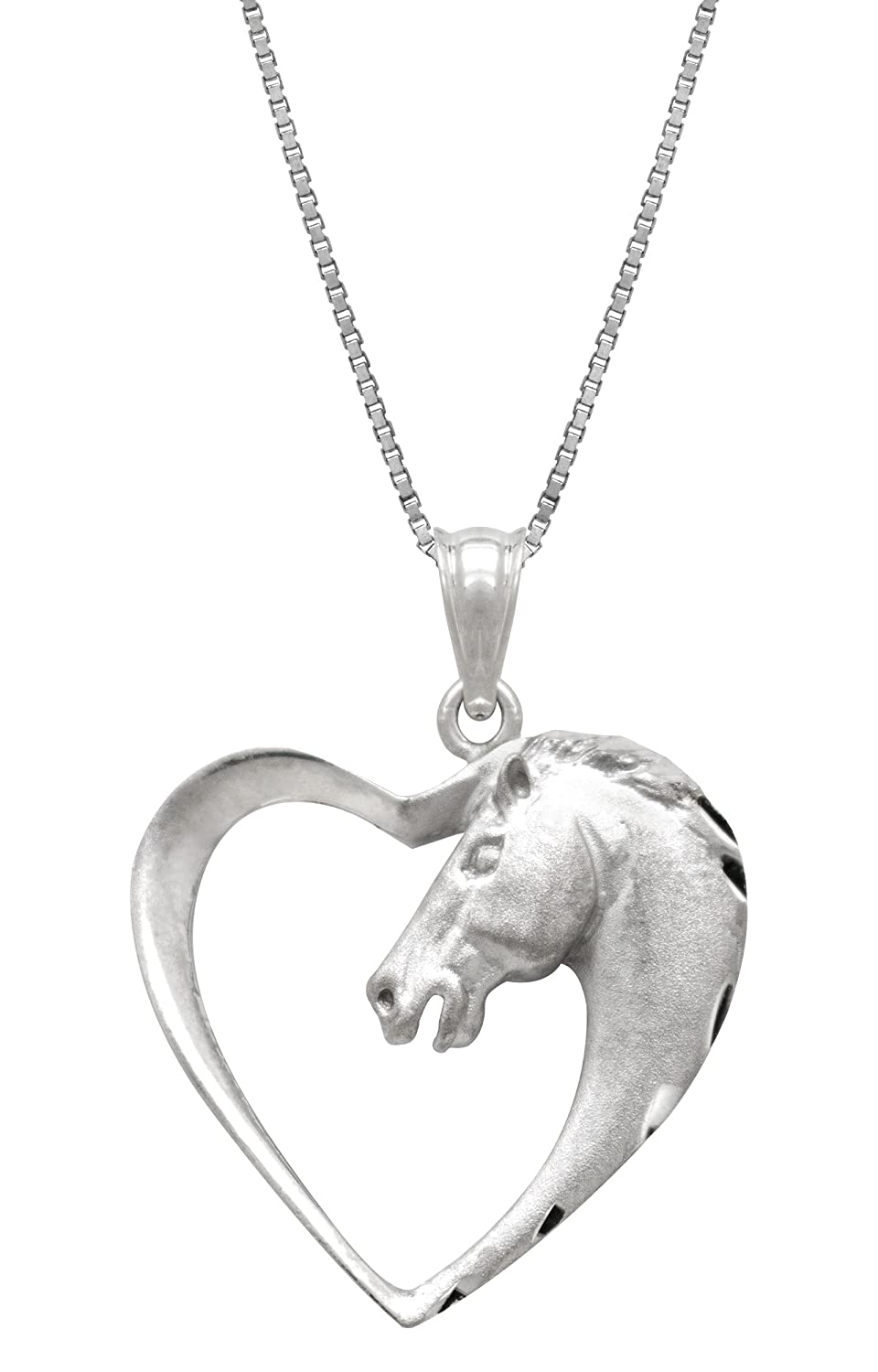 Amazon sterling silver horse in heart necklace pendant with 18 amazon sterling silver horse in heart necklace pendant with 18 box chain jewelry aloadofball Gallery