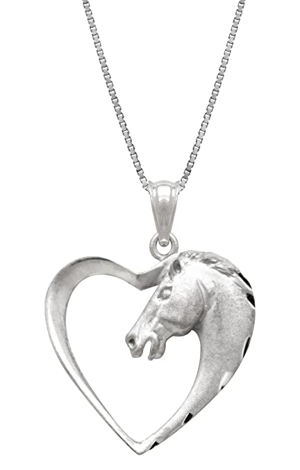 Amazon Com Sterling Silver Horse In Heart Necklace Pendant With 18