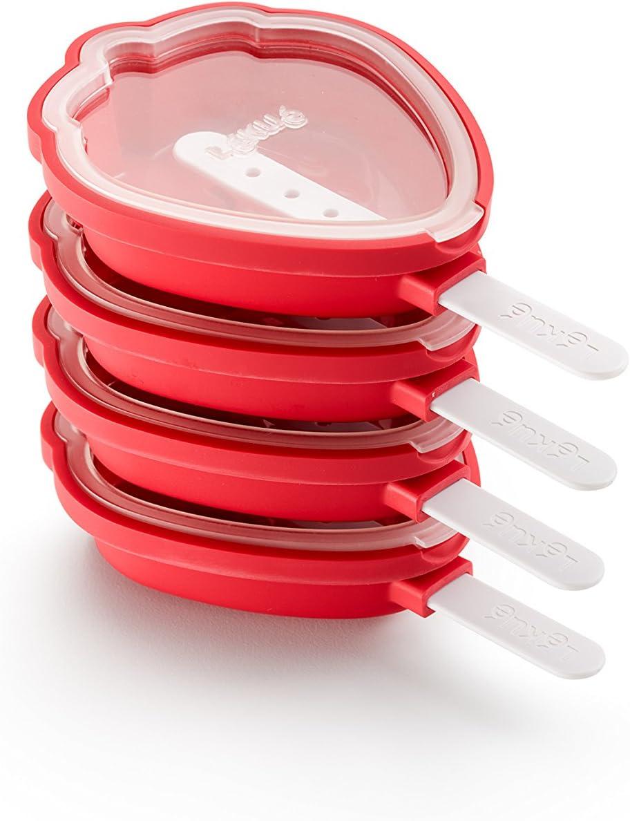 Lékué 3400265S01 Fraise Glacé Pack 4 UTS, Silicone, Rouge, 15,4 x 9,4 x 3,3 cm Moldes para Helados en Forma de Fresa, Rojo, 15.4 x 9.4 x 3.3 cm, 4 Unidades