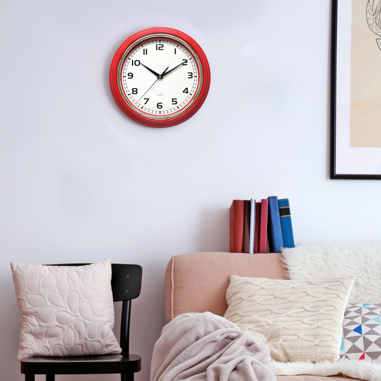 Amazon.com: Sunbright 12 Inch Silent Quartz Round Wall Clock (Red ...