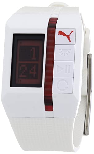 Puma A.PU910511002 - Reloj digital de caballero de cuarzo con correa de resina blanca