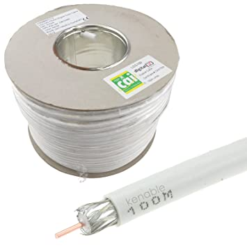 LCC100 Digital HD Sat Coax 75ohm TV Cable Cobre Blanco 100 m