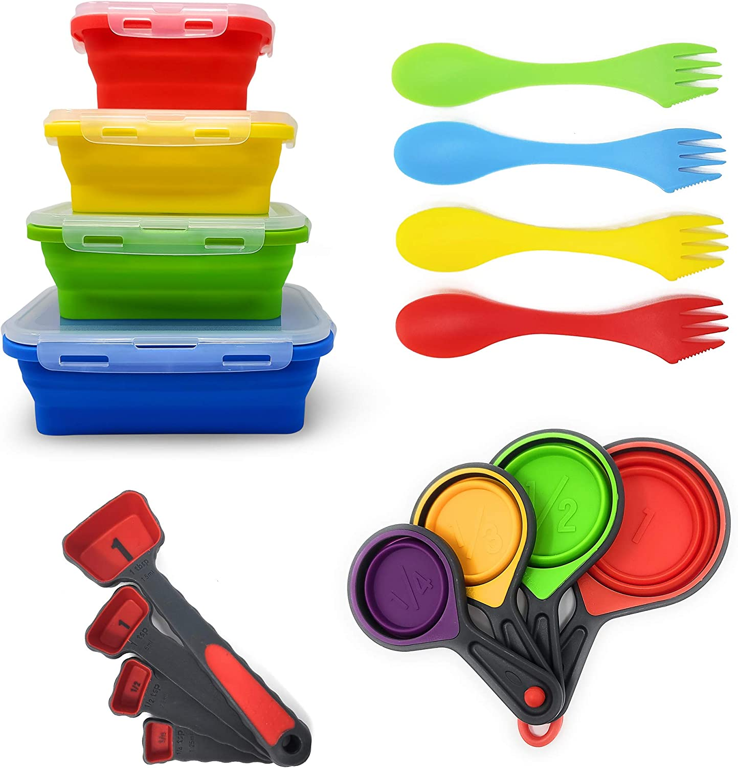 Collapsible Silicone Food Storage Containers by Silictek, Measuring Cups and Measuring Spoons | Food Grade Silicone Measurement Cup Set | Kitchen Utensils |BPA Free, Dishwasher and Freezer Safe.