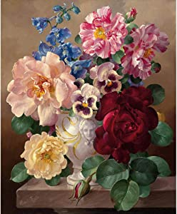 Acrylic Oil Painting for Adults and Kids Adult paint by numbers kit Colorful flowers Paint On Canvas Painting Bedroom Decor Birthday Gift 40X50cm/unframed
