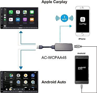 ATOTO AC-WCPAA48 Wireless CarPlay y Android Auto con Cable: Amazon ...