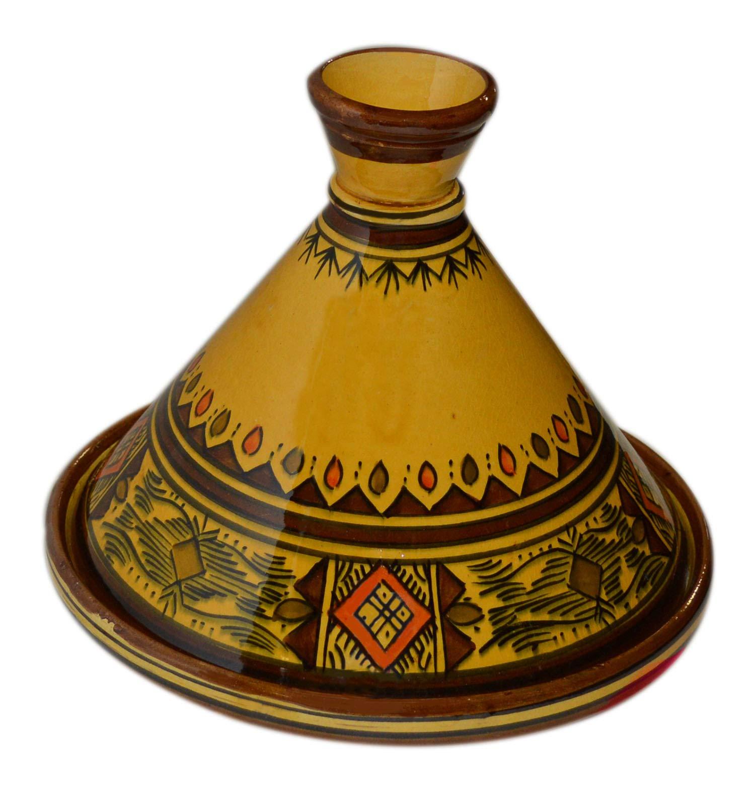 Moroccan Handmade Serving Tagine Exquisite Ceramic With Vivid colors Original 10 Inches in Diameter