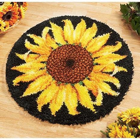 2x Sunflower Pattern Latch Hook Rug Making Kit Tool DIY Rug Carpet Ornaments
