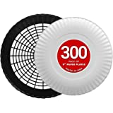 Stock Your Home 9-Inch Paper Plates Uncoated with 4 Plastic Paper Plate Holders (300 Count) - Everyday Disposable Plates…