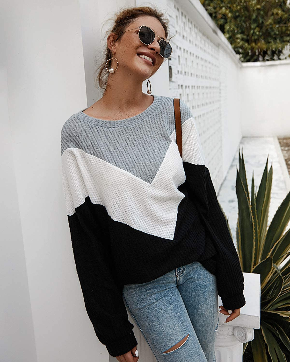 GIKING Women Color Block Patchwork Sweater Waffle Knitted Blouse Pullover Tops