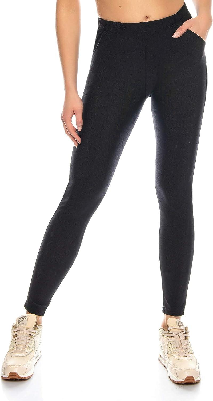 Kendindza Legging Brillant pour Femmes avec Poches | Opaque | Taille Haute élastique