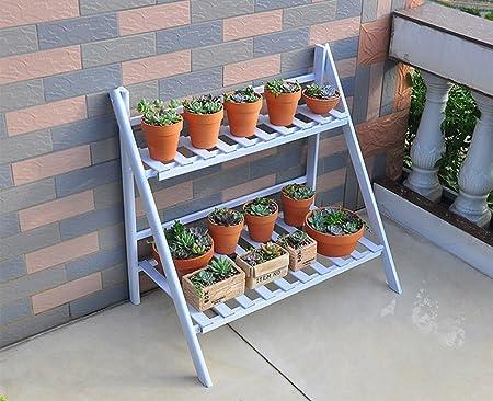 AIDELAI Aiilai - Estante de flores para balcones de hierro, dos pisos, escalera multiestancia, soporte de flores, jardín, patio, pergolas: Amazon.es: Jardín