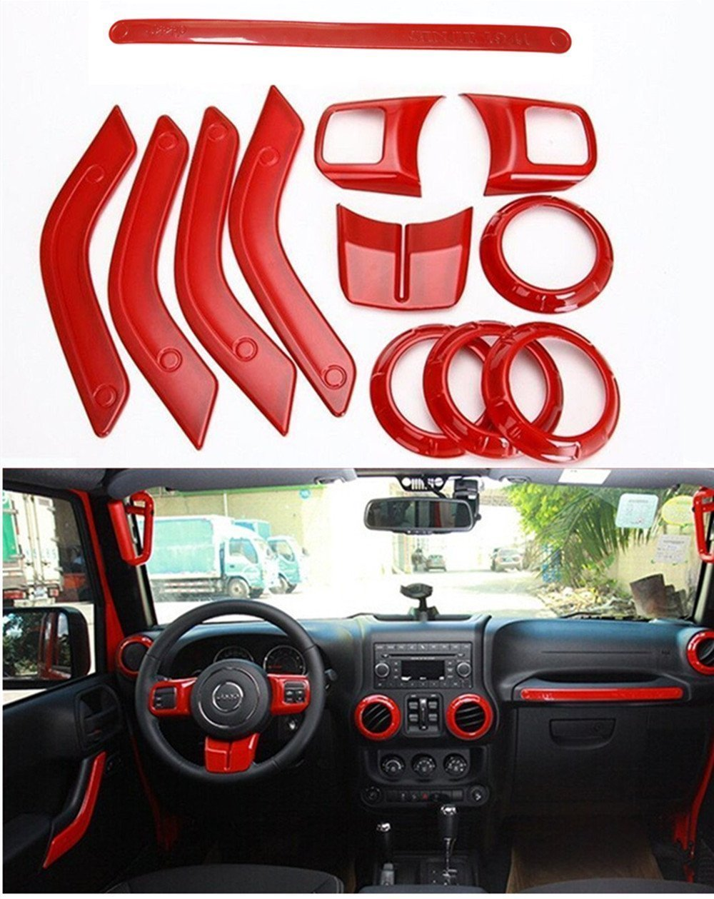 FMtoppeak 12 Pcs/Kits Red ABS Auto Interior Parts Decoration Car Inner Dashboard Trim Cover for Jeep Wrangler 4 Door 2011-2016 766111850216