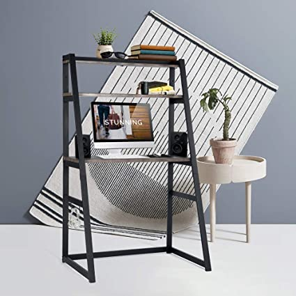 Aingoo Ladder Style Desk With BookshelfSmall 2 Tier Bookcase Perfect As