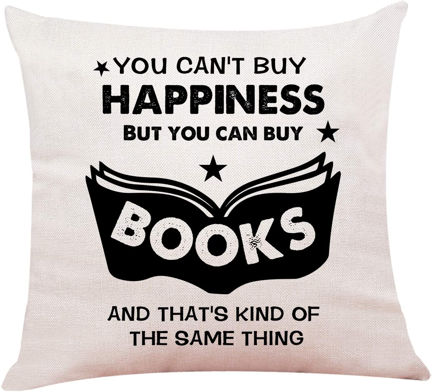 """Ku-dayi Funny Book Lover Quotes Pastel Throw Pillows, Book Lover Gifts, Bibliophile Gifts, Book Worm Gift, Bookish, Reading Pillow Case 18""""x 18""""Inch (Book 2)"""