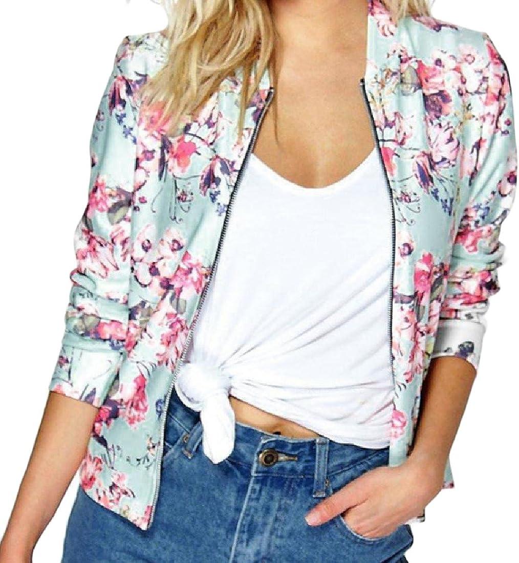 LinkShow Women Stand Collar Zip Comfy Long Sleeve Fashion Overcoat