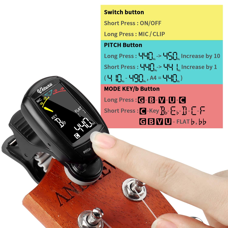 Guitarra Afinador de Clip Uktunu A3-CS Afinador de Guitarra Electrónico Para Guitarra Cromáticos Bajo Violín Ukulele, Digital Sintonizador Pantalla a color ...