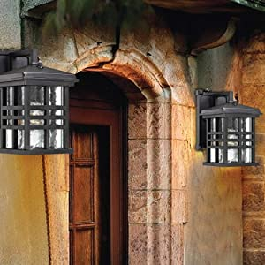 Ciata Lighting Wall Lanterns | Weather-Resistant Outdoor Lamps | Decorative Scroll Sconce Arm, Scalloped Edges & Clear Beveled Glass for Front Porch, Backyard & Gardens | Pack of 2,