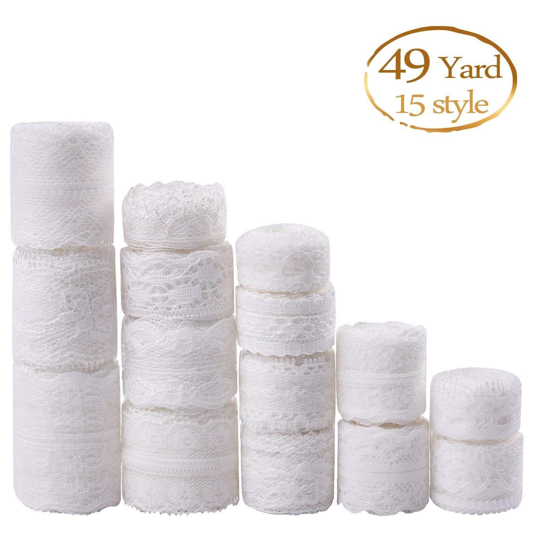 Whaline - Cinta de encaje de color blanco, 15 rollos, varios ...
