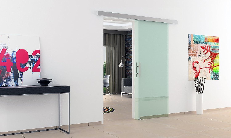 Puerta corredera cristal 1025 x 2050 mm con carril de & asa por ambos lados con la marca del fabricante alemán Dorma - fabricado en Alemania con tecnología de alta calidad garantizada:
