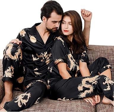 YONGYONG Conjunto De Pijamas Finos De Seda De Alta Imitación ...