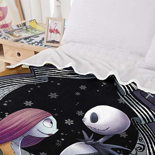 WONGS BEDDING Manta de Pesadilla Antes de Navidad, Ropa de Cama de Calavera, impresión Digital, 100% Fibra, Terciopelo, 150 × 200 cm
