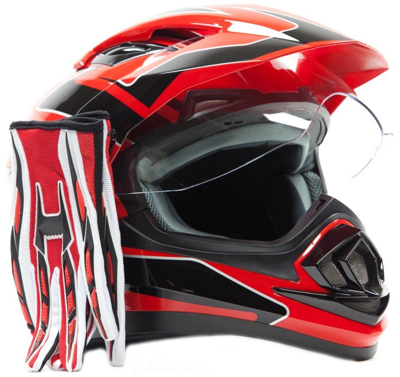 Dual Sport Helmet Combo w/Gloves - Off Road Motocross UTV ATV Motorcycle Enduro - Red - XXL