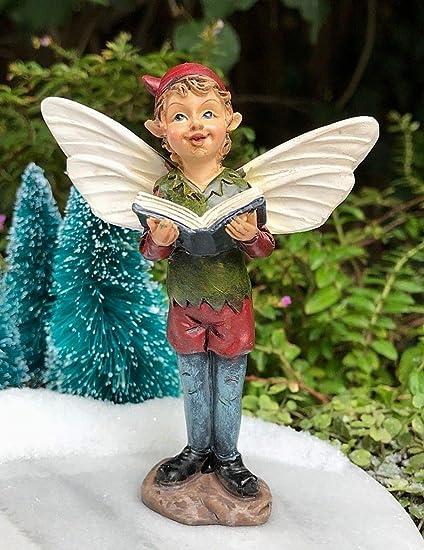 Miniature Dollhouse FAIRY GARDEN ~ Mini CHRISTMAS Angel Figurine Red with Book