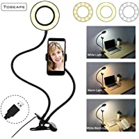 Selfie Ring Light with Cell Phone Holder Stand for Live Stream/Makeup,Tobeape LED Phone Lighting [3-Light Mode] [10-Level Brightness] with Flexible Arms Compatible with iPhone 8 7 6 Plus X Android