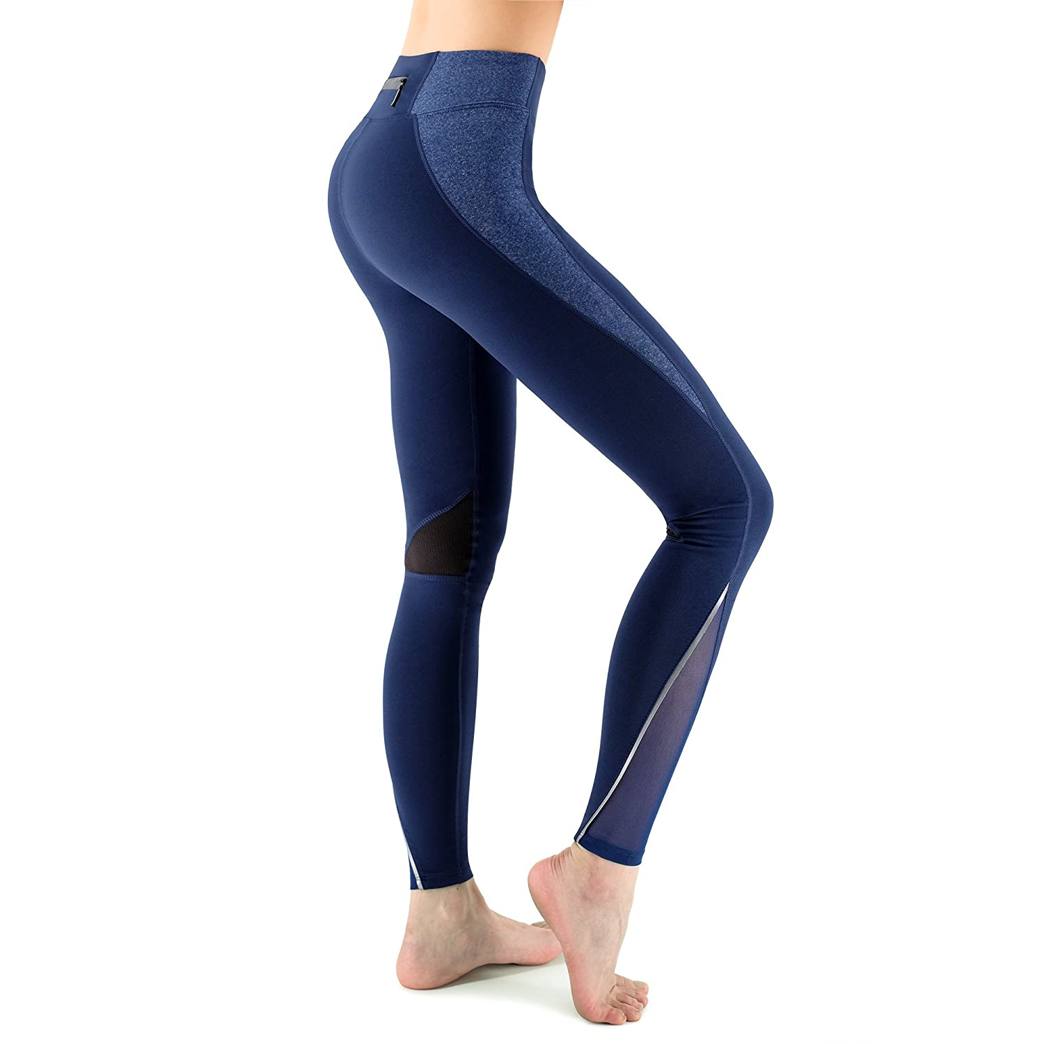 Zenwow Women's Sports Leggings High Waist Yoga Pants Gym Workout Running Tights Back Zipper Pocket