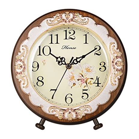 HENSE Victorian Garden Living Room Decorative Desk Clocks Silent Non Tick  Sweep Second Wooden Table Clock