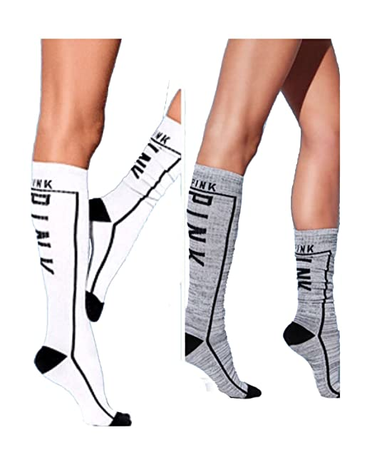 ffe29b368 Victoria s Secret PINK! Knee High Socks 2 Pairs Brilliant Ink Grey Marled  at Amazon Women s Clothing store