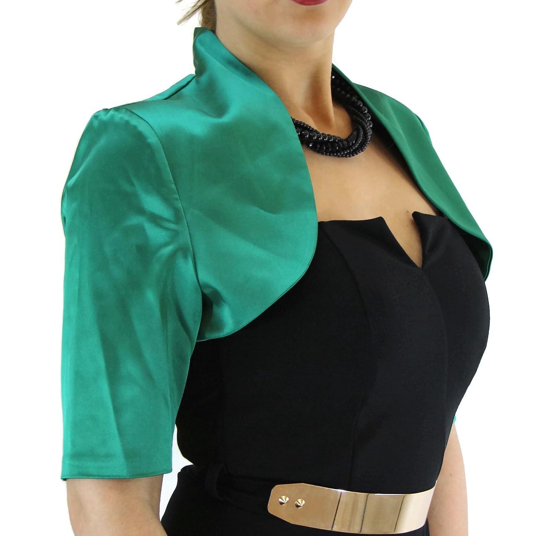 #991 Damen Luxus Satin Bolero Halbarm Kurzarm 36 38 40 42 44 46 48 50 52 54 56 Grün