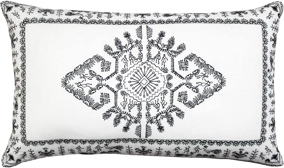 Artsy Home 'WARLI' moderndecorative Pillow case Set of 1 - Accent Home Decorative Cushion Cover - Pillow Cover for Sofa/Bedroom/car - Handmade - Embroidered - 30 x 50 cm - White with Black Embroidery