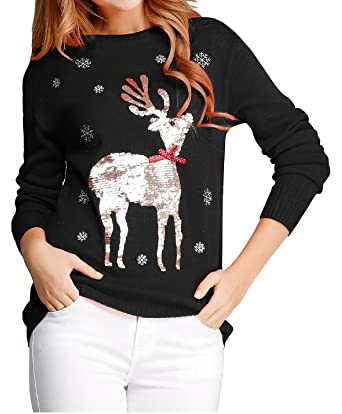 Ugly Christmas Sweater, V28 Women Girls Cute Shining Reindeer ...
