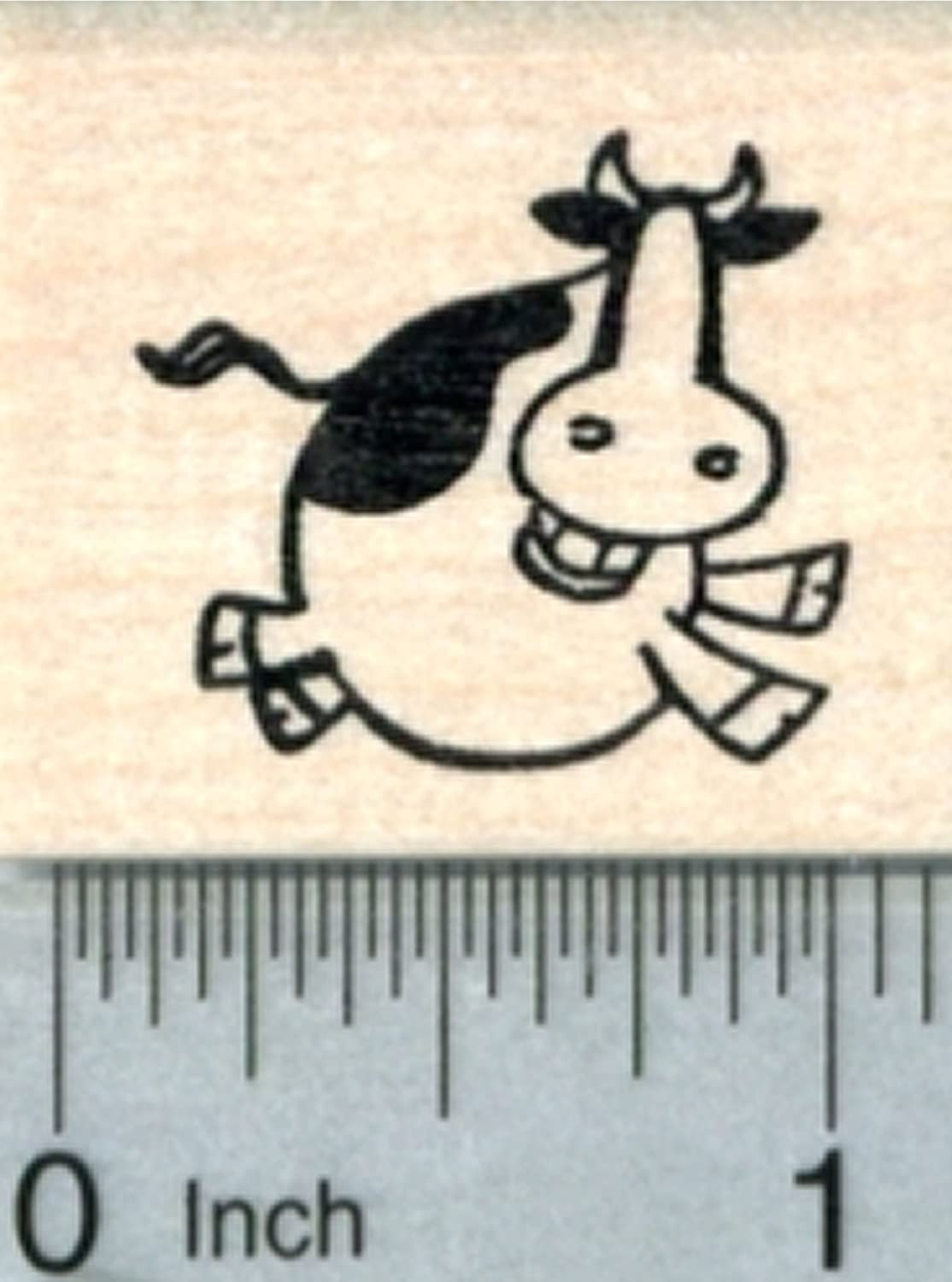 Cow Jumping Rubber Stamp