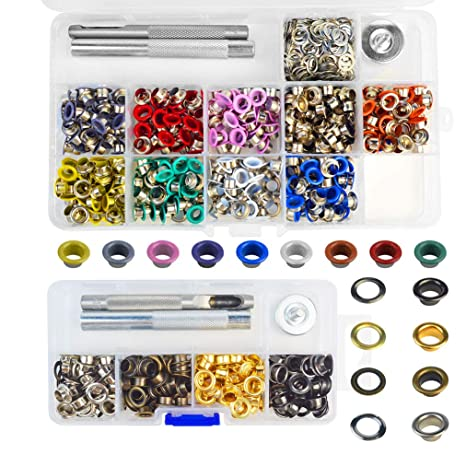 Metal Grommets Kit 3//16 inch 500Pcs Multi-Color Metal Eyelets Kits Shoe Eyelets Grommet Sets with Storage Box for Shoes Clothes Crafts Bag DIY Project 10 Colors