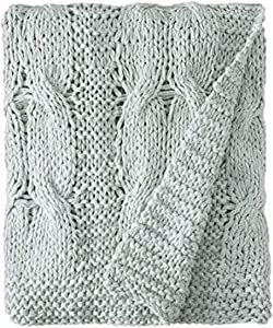 Be-You-tiful Home Michaela Aqua Knitted Throw, 50 by 60-Inch