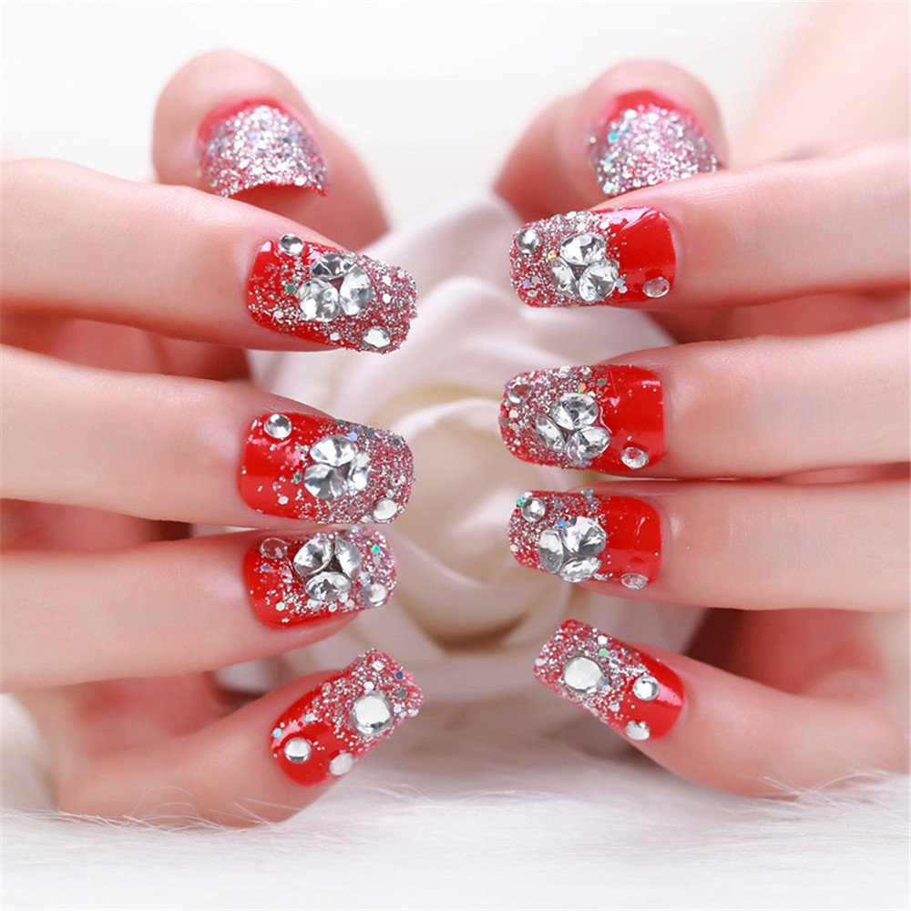 e7d5ce5bd11 Amazon.com: MENILITHS 24Pcs 3D Bling Nail Art Jewelry Glitter Rhinestone  Decor Nail Tips Red Fake Nails Pre-Glue Press on Fake Nails Tips for Women  and ...