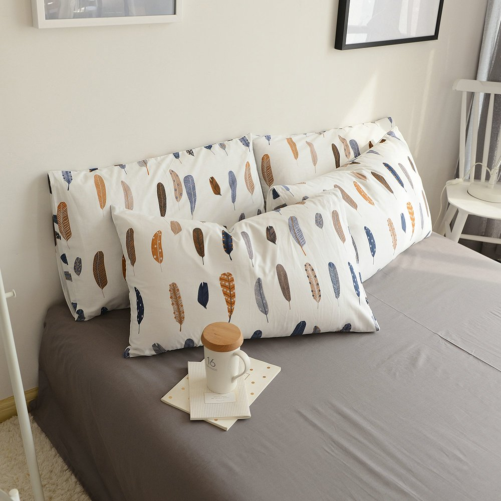BuLuTu Cotton Feather Print Bed Pillowcases Set of 2