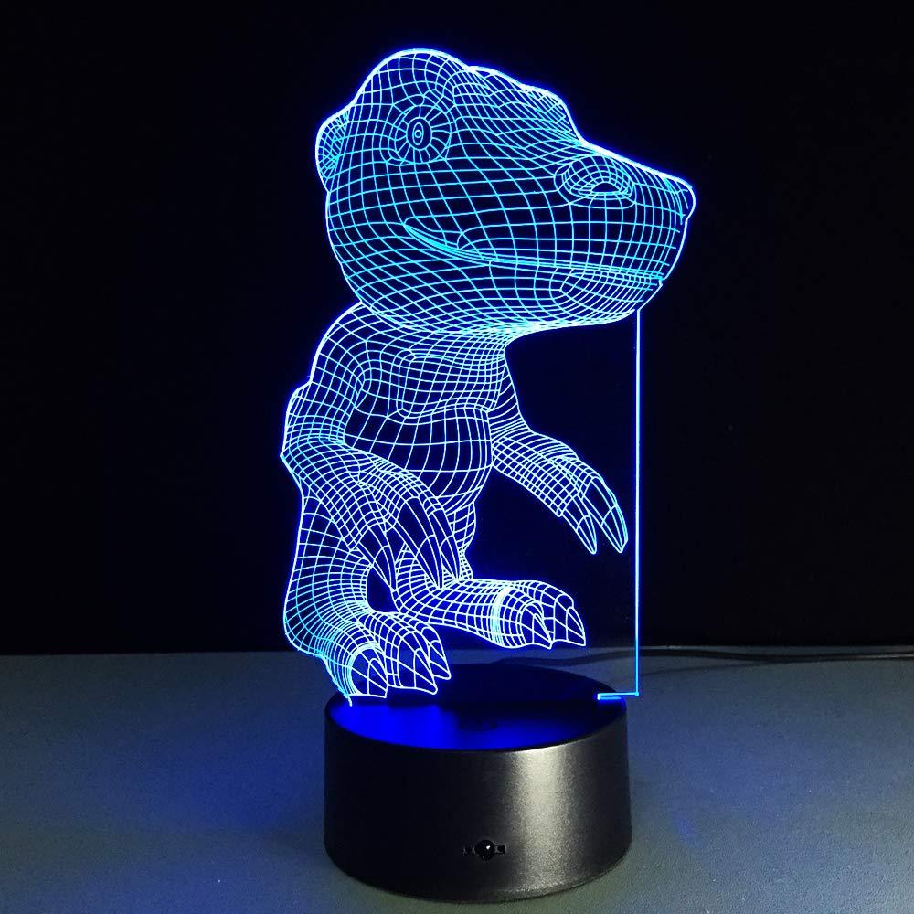 Bbdeng 3D-Nachtlicht Energie Sparen LED-Touch-Farbe Beleuchtung Kreative Kinder Schlafen Tischlampe USB Oder Batterie Digimon Agumon Conventional