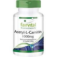 Acetyl-L-carnitine 1000mg - Bulk Pack for 3 Months - Vegan - HIGH Dosage - 90 Capsules - ALC
