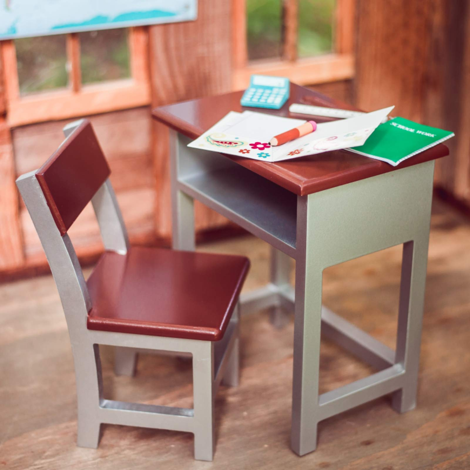 The Queen's Treasures Wooden Modern School Desk & Chair Compatible with18 Inch American Girl Dolls. Furniture Plus School Supply Accessories Including Folder, Paper, Journal, Pencil, Calculator,Ruler by The Queen's Treasures