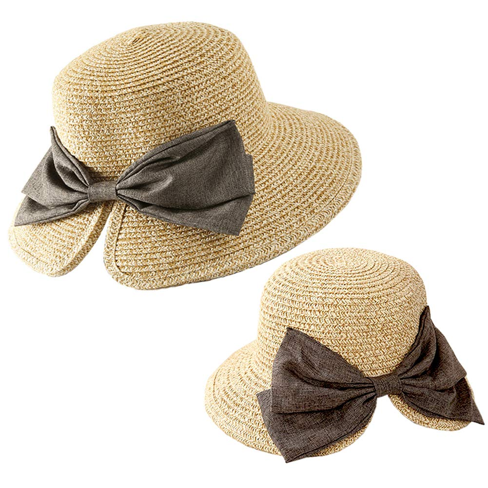 Julylee 2PCS Parent-Child Straw Hat Girls Womens Bowknot Beach Sun Hat