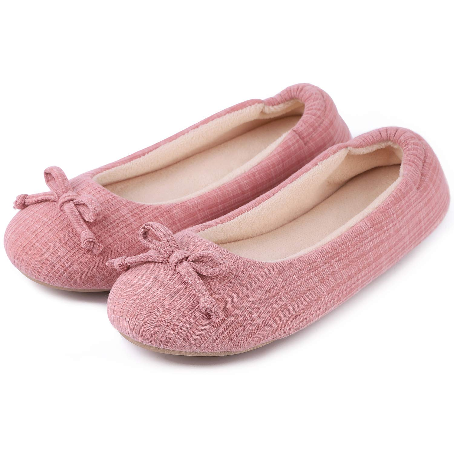 Cozy Niche Women's Comfort Stripe Knitted Ballerina Style Shoes, Memory Foam House Slippers with Coral Velvet Lining (7-8 B(M) US, Pink)
